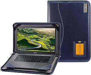 Broonel - Serie Contour - Funda Protectora De Cuero Azul De Alta Resistencia Compatible con La Acer TravelMate TMP215-51-54T0 15.6