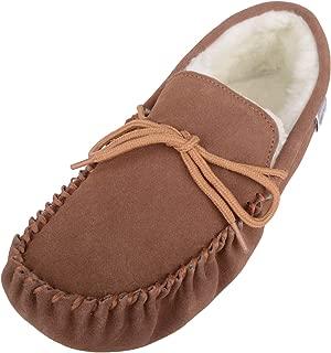 SNUGRUGS Men's Soft Sole Suede Sheepskin Moccasin Slippers