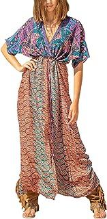 YouKD Women's Long Kimono Maxi Bohemian Dress Beach Coverup Robe Plus Size Nightgown One Size