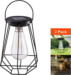 Outdoor Solar Lanterns Lamps - 2 Pack Tabletop Filament LED Edison Bulbs Hanging Solar Powered Garden Decorative Table Lights for Patio Backyard Courtyard Lawn Landscape Décor (ST64 Filament Bulb)