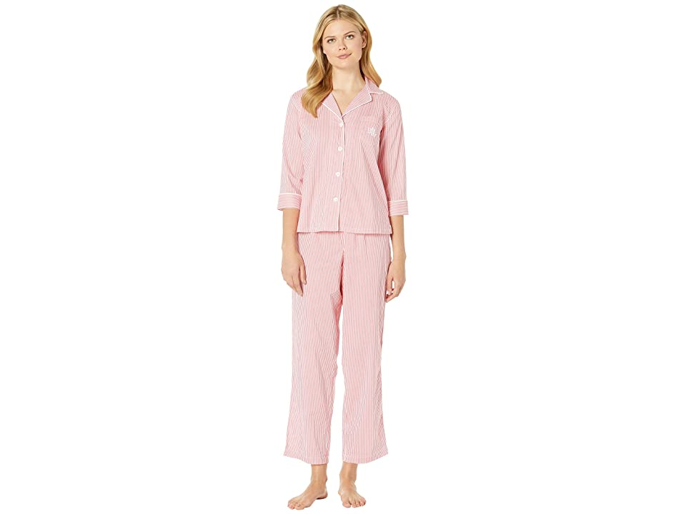 LAUREN Ralph Lauren 3/4 Sleeve Pointed Notch Collar Pajama Set (Coral Stripe) Women
