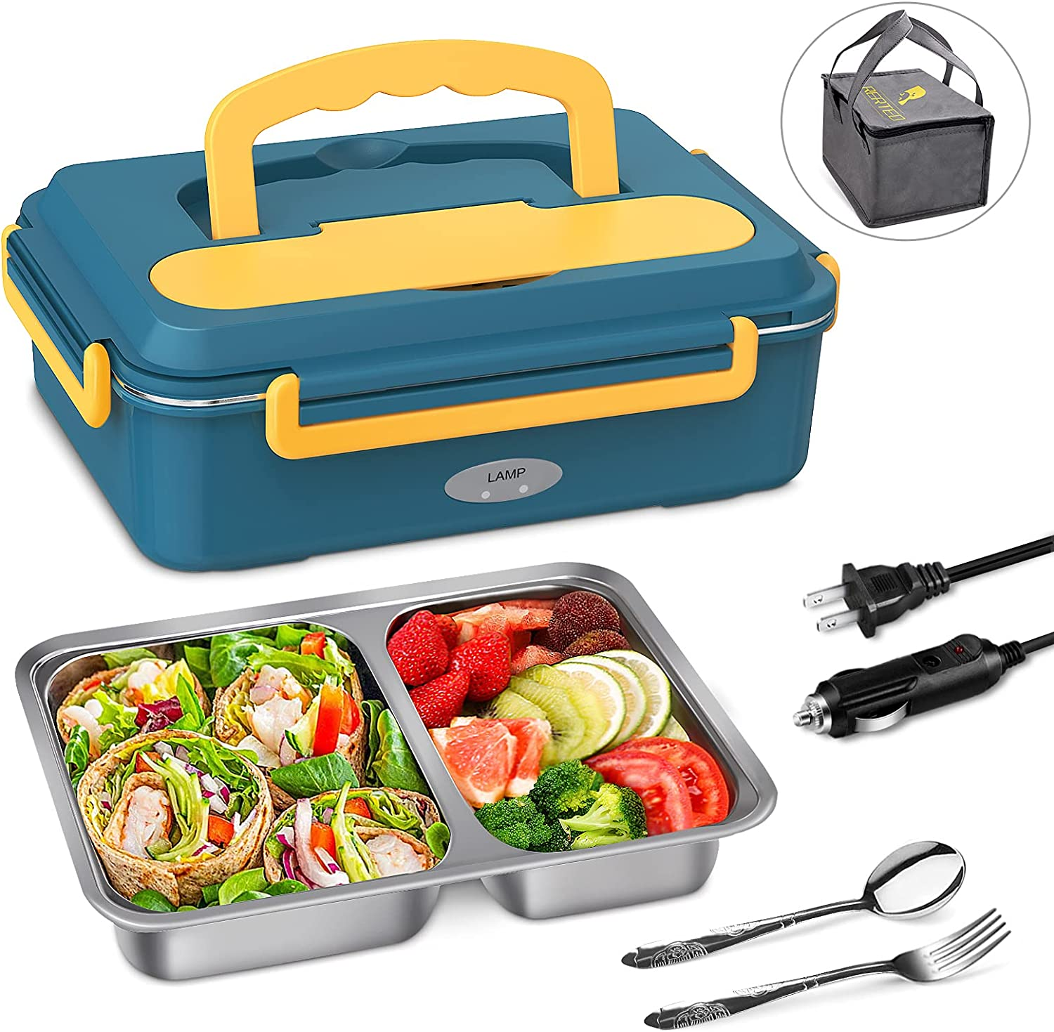 Electric Lunch Box Food Heater - Upgraded Fast Heating Lunchbox Food Warmer for Car and Home with 2 Compartments Removable 304 Stainless Steel Container, SS fork & spoon and Carry Bag