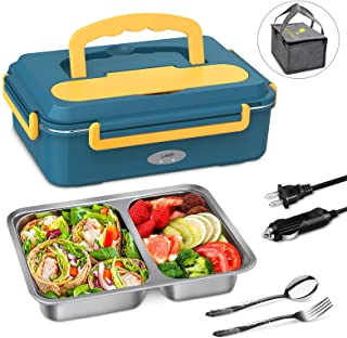 Electric Lunch Box Food Heater – Upgraded Fast Heating Lunchbox Food Warmer for Car and Home with 2 Compartments Removable 304 Stainless Steel Container – Rerted