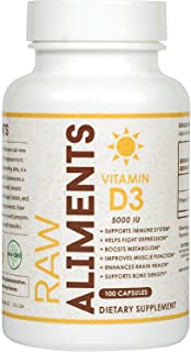 Raw Aliments Vitamin D3 5000 IU for Immune Support, Healthy Muscle Function & Bone Health Non-GMO Vitamin D Supplement, 10...
