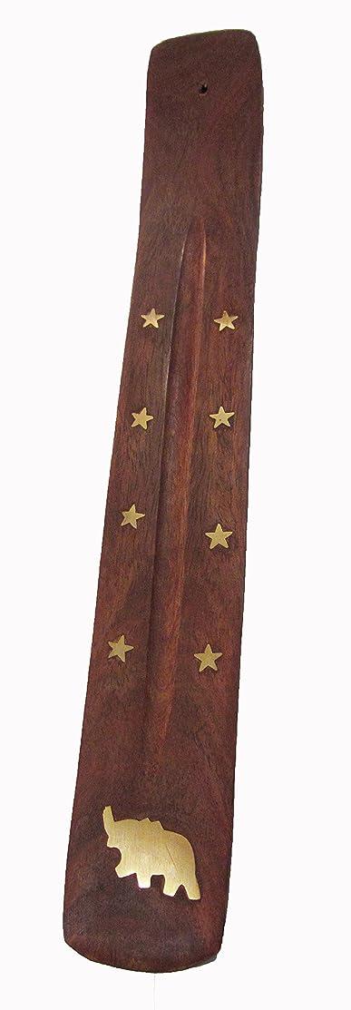 ムスバージンスペイン語手作り木製Incense Holder with真鍮Inlay with Elephant &星デザイン