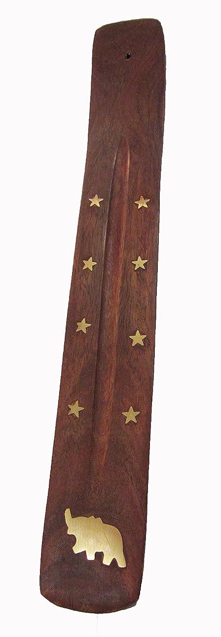 すり方向弱い手作り木製Incense Holder with真鍮Inlay with Elephant &星デザイン