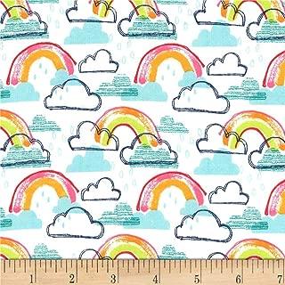 Michael Miller Rainbow Kids Flannel Rainbow Jubilee Fabric, Aqua, Fabric By The Yard