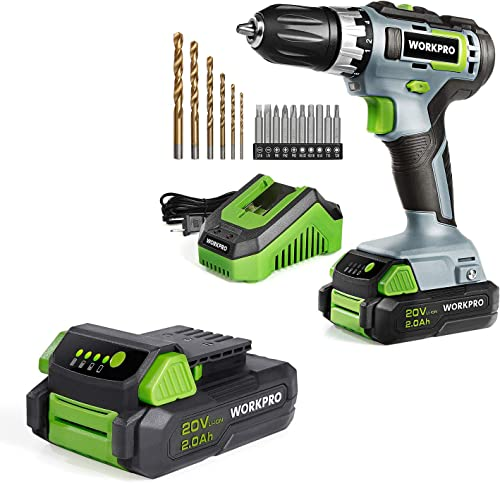 high quality WORKPRO wholesale 20V Cordless outlet sale Drill with Two 2.0Ah Li-ion Batteries outlet online sale