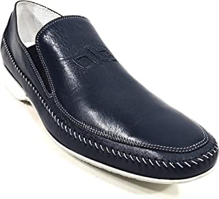 Men's Blue Leather Loafer Shoes