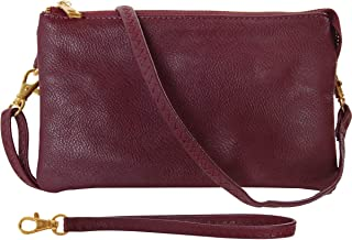 Humble Chic Vegan Leather Wristlet Clutch or Small Purse Crossbody Bag, Includes Adjustable Shoulder and Wrist Straps