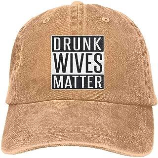 YINREN Drunk Wives Matter Novelty Unisex Washed Cap Adjustable Dad's Denim Stetson Hat Natural Hats