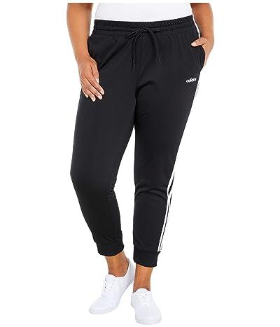 adidas Plus Size Essentials 3-Stripes Tricot Pants (Black/White) Women