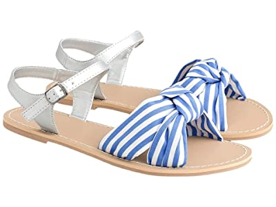 crewcuts by J.Crew Fabric Knot Sandal (Toddler/Little Kid/Big Kid) (Ivory/Blue) Girl