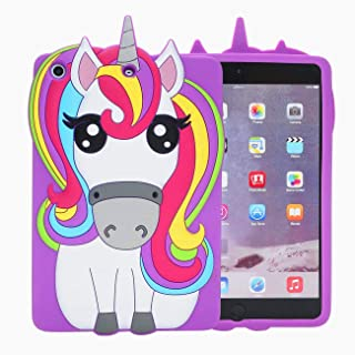Logee Purple Unicorn Case for iPad Mini 4,3D Cartoon Animal Cute Soft Silicone Rubber Character Design Purple Cover, Kawaii Fashion Cool Protective Skin Shell for Kids Child Teens Girls (iPad Mini 4)
