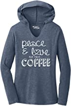 Comical Shirt Ladies Peace and Love But First Coffee Hoodie Shirt