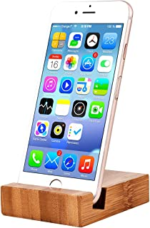 Desktop Bamboo Cell Phone Holder , Natural Wooden Cell Phone Stand ,Portable Smartphone Holder for All Kinds of Phone, Such as iPhone Samsung Huawei other Smartphones and Tablets