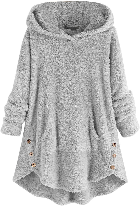 VEKDONE Women Sherpa Pullover Fuzzy Fleece Hoodies Sweatshirt Oversized Pockets Hooded Plush Sweater Jumper Outwear