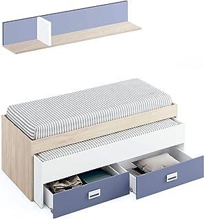 Miroytengo Cama Nido 2 cajones + Estante Lims habitacion Juvenil 90x190 Estilo Infantil Dormitorio 70x202x100 cm