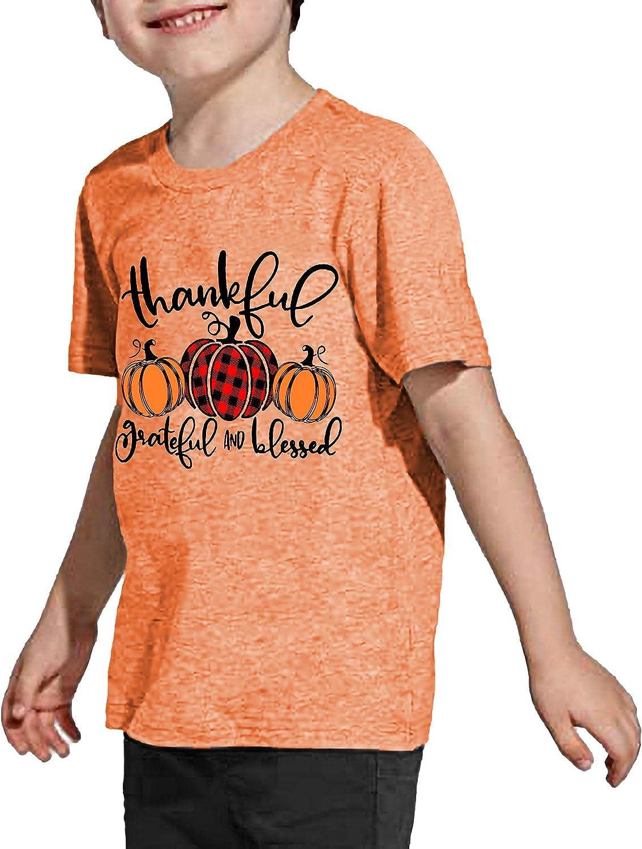 Thankful Grateful Blessed Shirts Toddler Boys Girls Thanksgiving Pumpkin T-Shirt Graphic Fall Tshirts