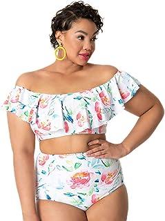 c4691d09ee6e2 Unique Vintage Plus Size White Watercolor Florals Ruffled Ramona Swim Top