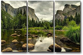 3 Pieces Green Wall Art Painting Yosemite National Park Clear Water Lake Mountain Trees..