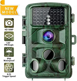 Smilile HH-632 Trail Camera Wildlife Hunting Camera 16MP 1080P, Game Camera with Glow Night Vision Up to 65ft, 0.2s Trigger Time Motion Activated, 2.4