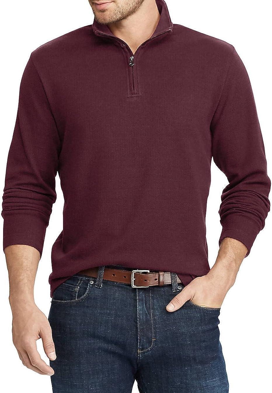 Chaps Men's Long Sleeve Herringbone Knit Pullover Shirt