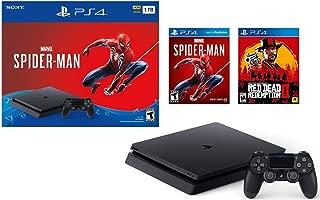 Sony Playstation 4 1TB Marvel's Spider-Man Bonus Bundle w/Red Dead Redemption: Playstation 4 1TB Jet Black Console, Marvel's Spider-Man, Red Dead Redemption 2, DUALSHOCK Wireless Controller (Renewed)