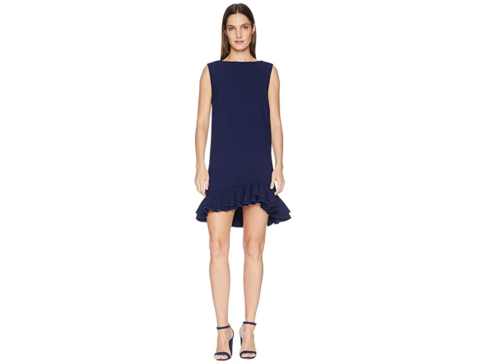 Nicole Miller Dress with Frill Hem (Navy) Women