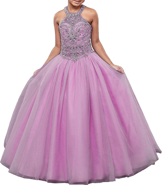 Honeydress Girl's Halter Bling Rhinestones Girls Pageant Dresses Tulle Kids Formal Wear Flower Girls Dress