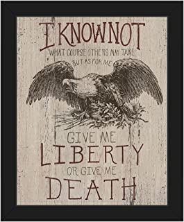 Give Me Liberty or Give Me Death - Quote from Patrick Henry's 1775 Speech with American Bald Eagle Wall Art Print on Canvas with Black Frame