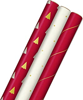Hallmark Minimalist Christmas Wrapping Paper with Cut Lines on Reverse (3 Rolls: 120 sq. ft. ttl) Red, White, Gold Trees, ...