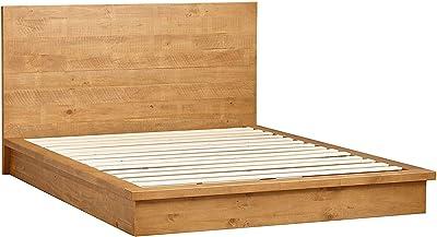 8b4f249f2ae MUSEHOMEINC Arizona Rustic Solid Wood Platform Bed with  Headboard Low-Profile Design No