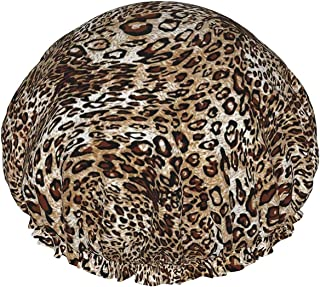 Leopard wodoodporny czepek prysznicowy z elastycznym obszyciem dwustronna konstrukcja do prysznica czepka do spania dla ws...