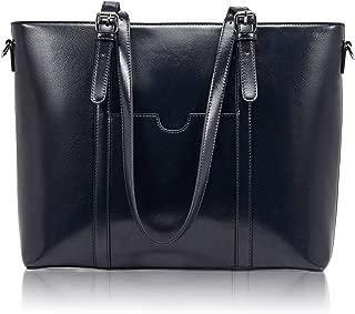 BROMEN Women Briefcase 15.6 inch Laptop Tote Bag Vintage Leather Handbags Shoulder Work Purses Blue