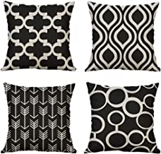 MIULEE Pack of 4 Decorative Pillow Cover Black Geometric Pillow Cases European Modern Solid Square Cushion Cover Home Decor for Sofa Car Bedroom 18x18 Inch