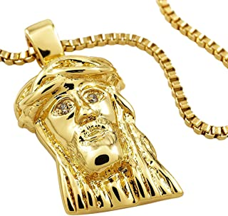 18K Yellow Gold-Plated Cubic Zirconia Mini Jesus Pendant