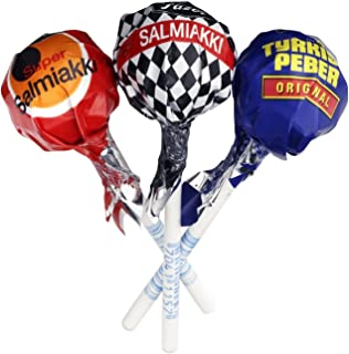 15 pcs x 9g of Fazer Salmiakki Mix - Lollipops (Super Salmiakki - Salmiakki -