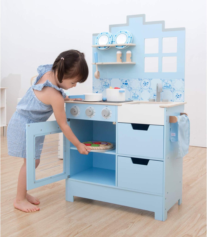 New Classic Toys 11065 Küchenzeile-Modern mit Kochfeld, Multi Color Delfts Blau