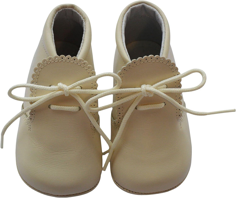 Baby Boys Shoes Leather Soft Sole Shoes w/Laces - Beige, Size 16 EU/1 US Infant