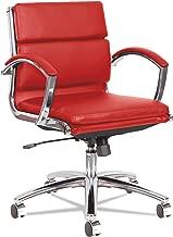 Alera ALE Neratoli Low-Back Slim Profile Chair, Red Soft Leather, Chrome Frame