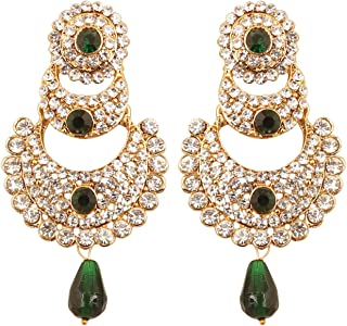 Touchstone Indian Bollywood Austrian Crystals and Kundan looks Designer Dazzling Bridal Jewelry Chandelier Earrings For Women In Antique Gold Tone.