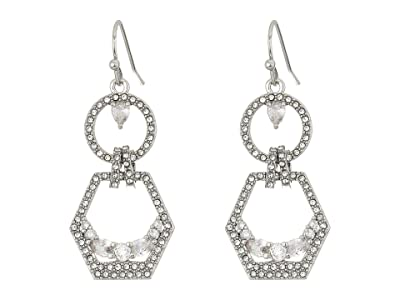 Vince Camuto Double Drop Earrings (Rhodium/Crystal) Earring