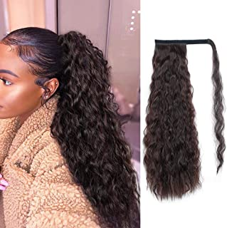 Alimice Long Corn Wave Ponytail Extension Synthetic Wavy Curly Wrap Around Clip in Ponytail Hair Extensions for Women Natural Hair Ponytails for Girl Lady Magic Paste Ponytail(21inch 100g)
