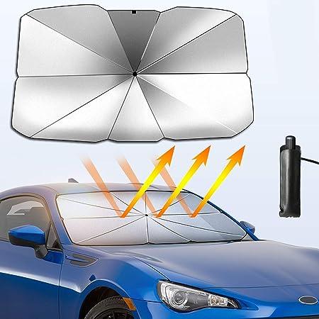 Conpush Auto Sonnenschutz Für Windschutzscheibe Faltbarer Frontscheibe Uv Schutz Regenschirm Sonnenschirm Universal 125 Cm 65 Cm Für Die Meisten Autos Suvs Und Lkws Klein Auto