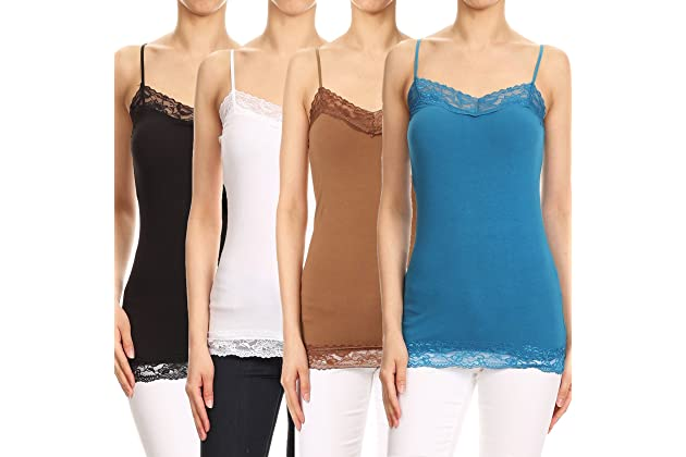 3db32acc66c RouA Women s Basic Long Camisole or Spaghetti Strap Tank Top (Pack of 4)