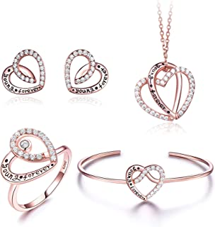CaratDream 18K rose gold plated Love Collection Diamond Jewellery sets Stud earring/Pendant necklace/Bracelets/Rings for w...