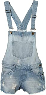 AEL New Girls Kids Denim Dungaree Outfit Shorts Dress Jumpsuit Party Size 7-14 Years