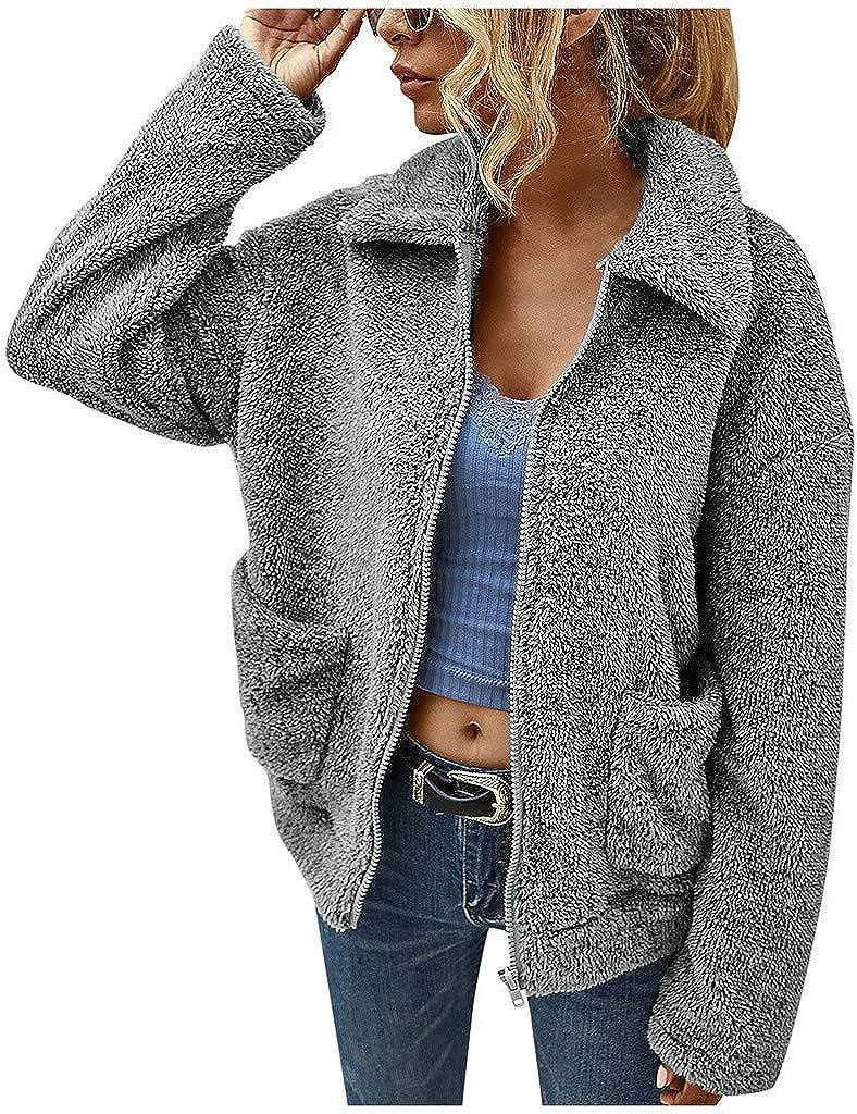 VEKDONE Women Casual Fleece Fuzzy Faux Shearling Warm Winter Oversized Outwear Jackets Shaggy Coat Jackets
