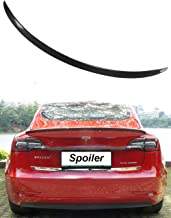 WJM Glossy Carbon Fiber Trunk Spoiler for Tesla Model 3 Trunk Lip Spoiler Wing Rear Spoiler Lip Kit Exterior Rear Spoiler Kit for Tesla Model 3 2017 2018 2019. (Glossy)